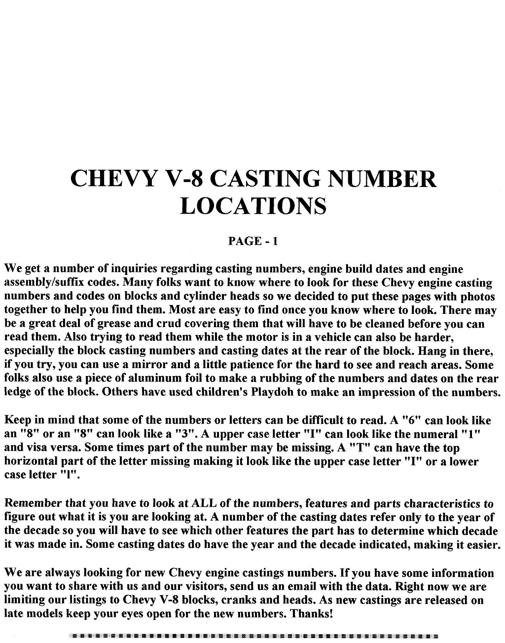 CHEVROLET SMALL BLOCK, BLOCK AND HEAD CASTING NUMBERS
