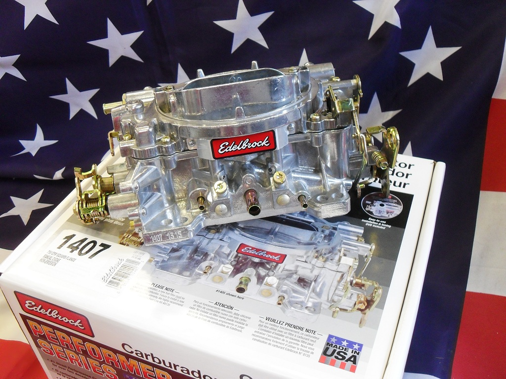 Edelbrock Carburetor 1407 http://www.probuildamerican.com/parts-for-sale/edelbrock-1407-750cfm-manual-choke-carburettor/