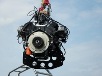 7.4 Mercruiser  being lifted into Scarab