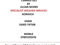 Welding carried out by Specialist Welding Services